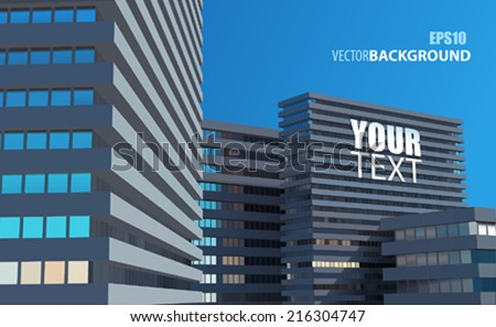 VECTOR CITY WITH YOUR TEXT - stock vector
