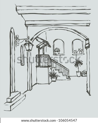 Vector cityscape. Arcuate passage with a lantern in a cozy old courtyard with flowers - stock vector