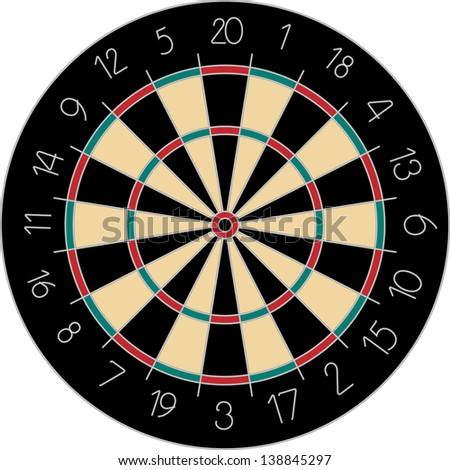 vector classic dartboard with black, green and red sectors - stock vector