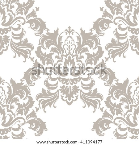 Vector Classic Luxury Victorian pattern. Luxury floral stylish texture of damask or baroque style. Beige pastel color ornament - stock vector