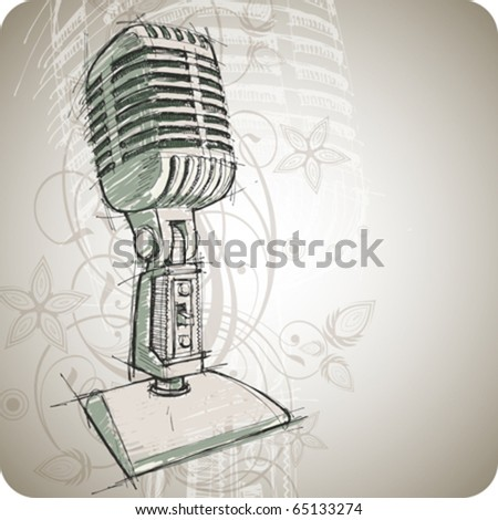 Vector Classic Microphone & floral background - stock vector