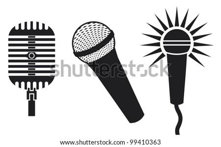 Vector Classic Microphones Symbols (Microphones Icon, microphones set) - stock vector