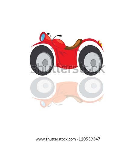 vector classic motorcycle icon. red sport bike on white with reflection - stock vector