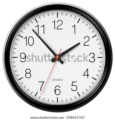 Vector classic round wall clock - stock vector