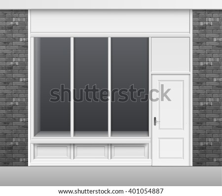 Vector Classic Shop Boutique Building Store Front with Glass Windows Showcase, Closed Door and Place for Name Isolated on White Background - stock vector