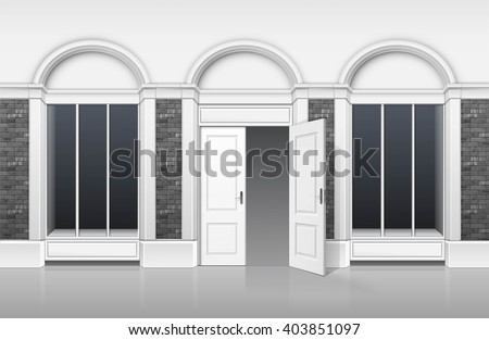 Vector Classic Shop Boutique Building Store Front with Glass Windows Showcase, Open Door and Place for Name Isolated on White Background - stock vector