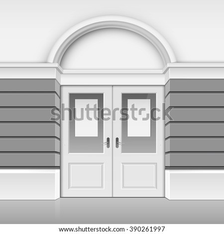 Vector Classic Shop Museum Boutique Building Store Front with Closed Front Glass Door and Place for Name Isolated on White Background - stock vector