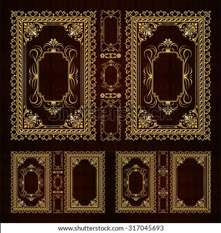 Vector classical book cover. Decorative vintage frame or border to be printed on the covers of books. Drawn by the standard size. Color can be changed in a few mouse clicks. Three design options - stock vector