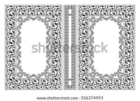 Vector classical book cover. Decorative vintage frame or border to be printed on the covers of books. Drawn by the standard size. Color can be changed in a few mouse clicks. - stock vector
