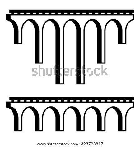 vector classical viaduct bridge black symbol - stock vector