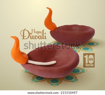 Vector Clay Diwali Diya (Oil Lamp). - stock vector