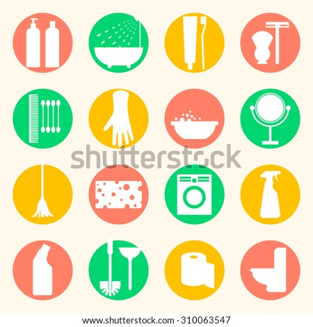Vector cleaning and hygiene products flat icons. Cleaner and toilet paper, toothpaste and mirror, sponge and washing machine and mop. - stock vector