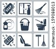 Vector cleaning icons set: soap, window cleaner, duster, dishwashing liquid, bucket and cloth, toilet brush and flush toilet, sponge, vacuum cleaner, mop - stock vector