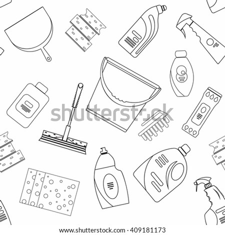 Vector cleaning tools seamless pattern.Flat cleaning seamless pattern.Cleaning supplies seamless.Cleaning bottles, Stuff for cleaning room, house.Cleaning seamless.Cleaning products seamless. - stock vector