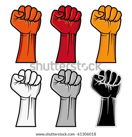 vector clenched fist emblem - stock vector