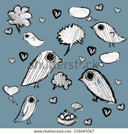 vector clip art  hand drawn cloud of thoughts and birds dark blue background - stock vector