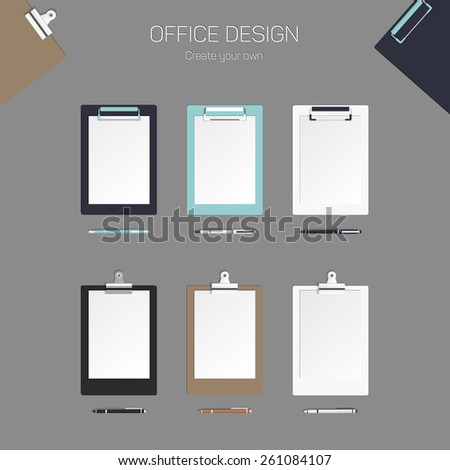 Vector clipboard with paper and pen, set for design, eps 10 - stock vector