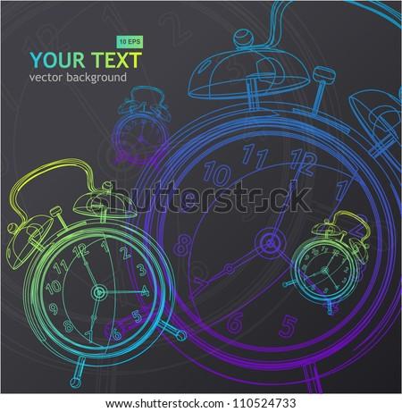 Vector clock background - stock vector
