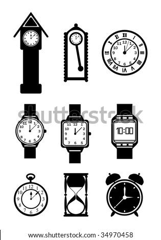 Vector clock collection - stock vector