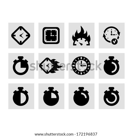Vector Clock Icon Set for web and mobile. - stock vector