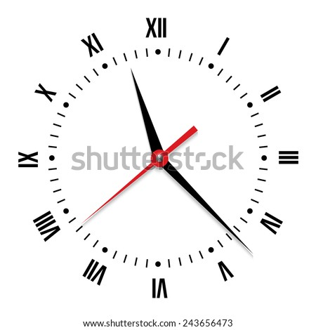 Vector clock on white background. Close-up of clock face with a red second hand - stock vector