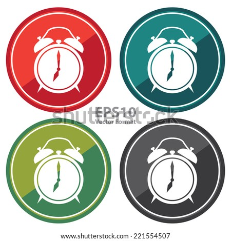 Vector : Clock Sign on Circle Icon, Button, Label Isolated on White  - stock vector