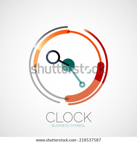 Vector clock, time company logo design, business symbol concept, minimal line style - stock vector