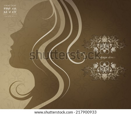 Vector close up portrait of a girl with beautiful hair - stock vector