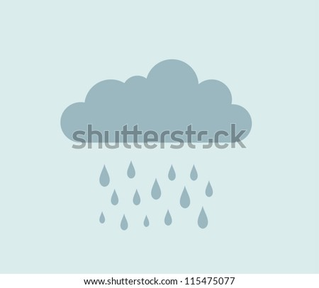Vector cloud and rain - stock vector