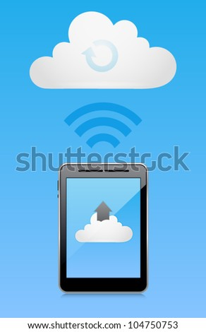 Vector cloud computing concept with tablet PC uploading data. Image contains transparency in reflection - you can put them on every surface. 10 EPS - stock vector