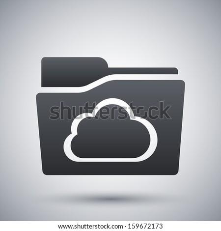 Vector cloud folder icon - stock vector