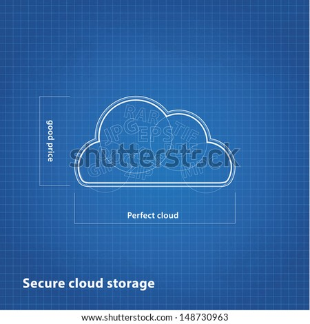 Vector cloud sketch with blueprint background. Cloud computing presentation.  - stock vector