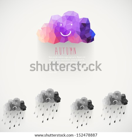 Vector cloud smile, made of triangles. Think positive. Retro background with rain drop pattern. Label design. Square composition with geometric shapes.Weather backdrop. Autumn template. - stock vector
