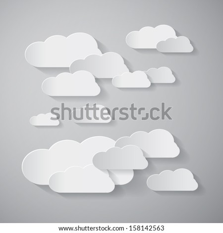 Vector Clouds Cut From Paper Background - stock vector