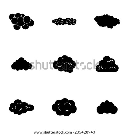 Vector clouds icons set on white background - stock vector