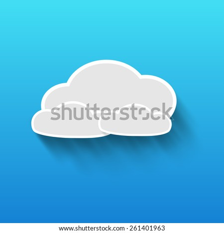 Vector clouds on blue background  - stock vector