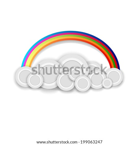 vector clouds with a rainbow for design - stock vector