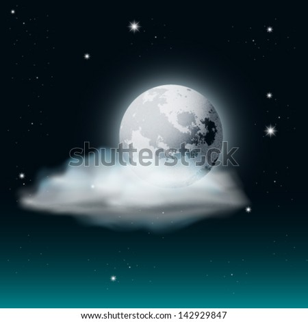 Vector Cloudy Night Sky Illustration with Moon and Stars - stock vector