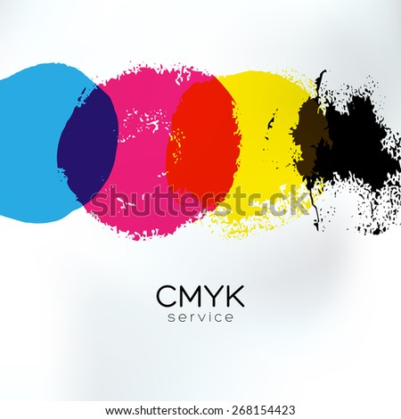 Vector CMYK drawing identity. CMYK print service business background. Printing technology presentation template. Polygraphic colors banner. - stock vector