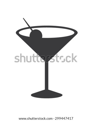 Vector Cocktail Glass Silhouette - stock vector