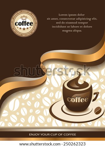 Vector Coffee Background with Shiny Wavy Lines and Cup of Coffee. - stock vector