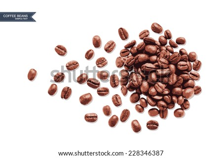 Vector coffee beans on white background. - stock vector