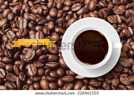 Vector coffee cup on coffee beans background. - stock vector