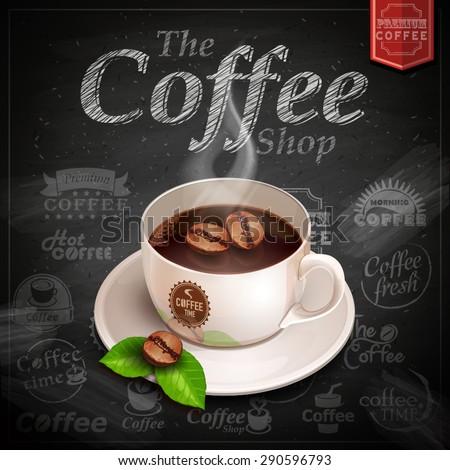 Vector coffee cup on the blackboard menu - stock vector
