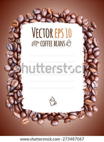 Vector coffee menu with coffee cup and croissant. Coffee beans background. - stock vector