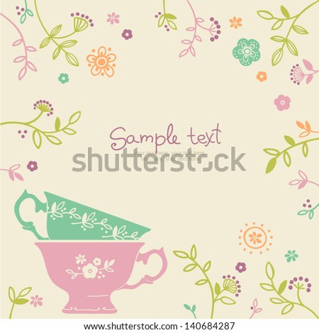 vector coffee or tea background with space for text - stock vector