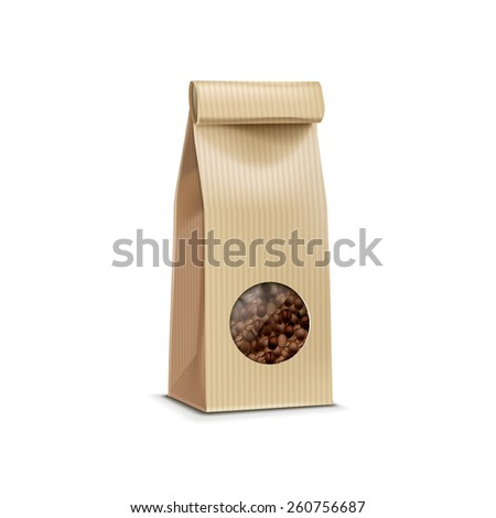 Vector Coffee Packaging Package Bag Isolated on White Background - stock vector