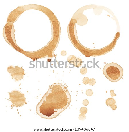 Vector coffee stain on white background. - stock vector