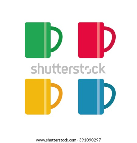 Vector coffee tea cup icon set isolated color cup icon template. - stock vector
