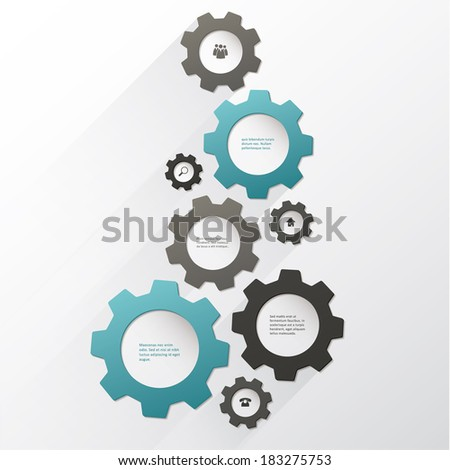 Vector cogwheel template. Cogwheel connection, teamwork. Colorfully creative template with space for your content.  - stock vector